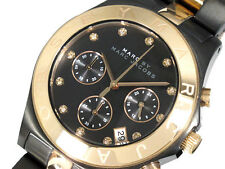 NEW MARC JACOBS CHRONOGRAPH TWO TONE BLACK ROSE GOLD LADIES WATCH MBM3180