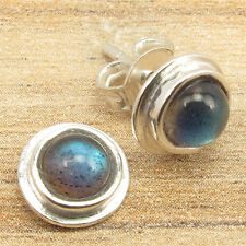 925 Silver Plated Beautiful Blue Shining LABRADORITE Very Small Stud Earrings