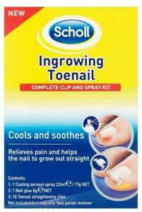 SCHOLL INGROWING TOENAIL COMPLETE CLIP & SPRAY KIT RELIEVES PAIN STRAIGHT NAIL