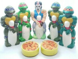 """Rare TMNT """"Poppin Pins"""" 10 figures & 2 pizzas! By Remco 1990"""