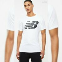 NEW BALANCE TSHIRT MEN'S CREW NECK SHORT SLEEVE SIZE XL WHITE STACKED LOGO TEE