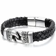 "12MM Stainless Steel Vintage Totem Leather Wristband Men's Bracelet 8.3"" Black"