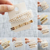 Women's Girls Pearl Hair Clip Gold Hairpin Slide Grips Barrette Hair Clips US rr