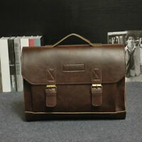 Business Briefcase For Men Leather Handbags Classic Vintage Laptop Shoulder Bag