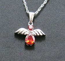 Cremation Angel with Red Stones Necklace Urn Pendant Jewelry stainless 060andrss