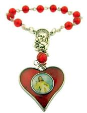 Red Enamel Divine Mercy Heart Shape Medal One Decade Rosary, 5 Inch