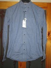 Next button down blue check long sleeve shirt size small brand new with tags