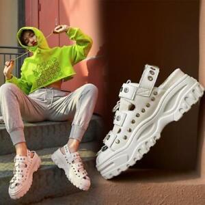Womens Fashion Leather Studs Buckles Slingback Platform Sports Sandals Shoes SKG