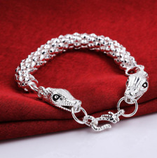 Mens Womens 925 Sterling Silver 2 Snake Head Link Chain Bracelet Wristband #B443