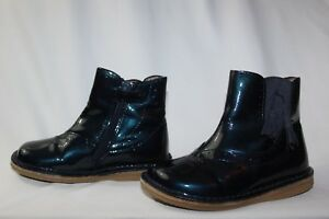 JACADI baby girls size 9 GLOSSY NAVY BLUE ANKLE BOOTS adorable with Matilda jane