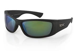 """Tonic Eyewear Glass Lens Polarised Sunglasses """"Shimmer"""" Matt Black Frame Green M"""