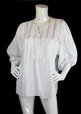 Vtg White Cotton Mexican Embroidered Neckline Peasant Boho Tunic Top S/M