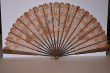 GRAND 67 cm Éventail XIXe ESPAGNE ancien dentelle peinture OISEAUX bird ABANICO