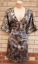 FIRETRAP TAUPE GOLD WOMEN PRINT ABSTRACT V NECK A LINE SILKY TEA VTG DRESS M 12