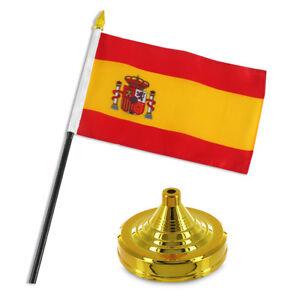 "Spain 4""x6"" Flag Desk Set Table Stick Gold Base"