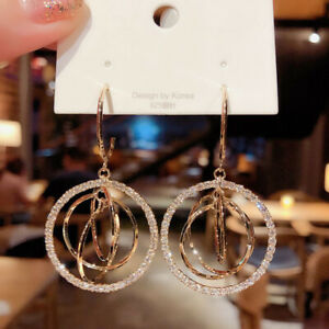 Fashion 925 Silver Gold Crystal Circles Earrings Hoop Drop Women Jewelry Gifts