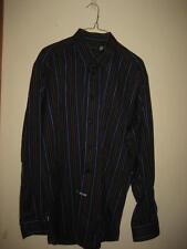 St Croix Black Tan Blue Striped LS Shirt L EUC
