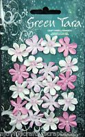 Mini ROSE PINK 20 Paper Flowers 22mm across with Pearl Centre Green Tara