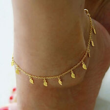 2X Gold Anklet Leg Bracelet Ankle Foot Jewelry Sandal Leaf Adjustable Chain JX