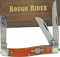 ROUGH RIDER Orange Smooth Bone Handles STOCKMAN Pocket Knife RR005 3 Blades