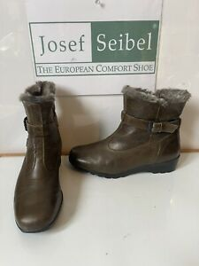 Josef Seibel Waterproof Fur Lined Comfy Leather Boots Size UK 7 EU 40