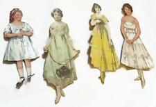 Original Antique Early 1900s Cut-Out Paper Dolls w Clothing and Accessories