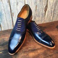 Chaussures à lacets en cuir véritable bleu et en daim pour hommes faits à la mai