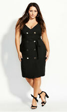 City Chic Size 22 XL Black Desk to Dinner V Neck Dress Double Breasted Plus Belt