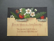 ANTIQUE CHRISTMAS Greetings Card L Prang 1878 Strawberries & Ferns  Victorian