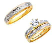 14K Two Tone Gold Round Cut Simulated Diamond Trio Wedding Band Bridal Ring Set