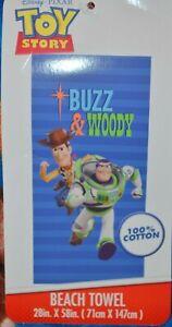 Disney Pixar Toy Story 4 Buzz Lightyear & Woody Beach Towel 28 in x 58 NEW