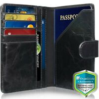 RFID Blocking PU Leather Travel US Passport Cover ID Card Holder Wallet Case