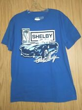 New w/Tag Cobra Carroll SHELBY Distressed Logo Automobile Tee Shirt Size L Blue