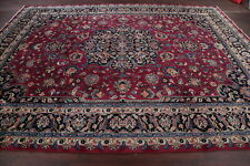 Antique Floral Vegetable Dye Burgundy Signed Kashmar Area Rug Hand-Knotted 10x13