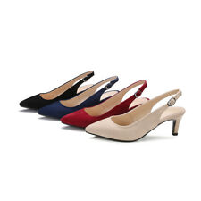 Ladies Slingbacks Shoes Faux Suede High Heels Pointed Pumps Sandals US Size S031