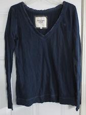 Women's Abercrombie & Fitch V Neck Size Large L Blue 100% Cotton Long Sleeve