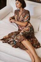New Anthropologie Farm Rio Valentina Maxi Dress By Farm Rio brown Size L NWT