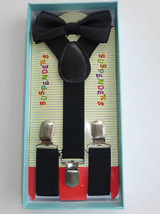 New Baby Toddler Kids Child Black Suspenders and Bow Tie Matching Gift Box Set