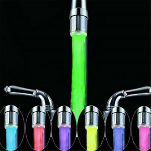 LED Glowing Temperature Sensing Bathroom Kitchen Faucet Light Tap Water Powered