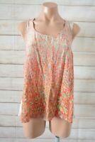 Saba Tank Top Blouse Size 14 Orange Pink White Silk Sleeveless