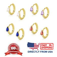 Girls 14K Gold Over Sterling Silver Teardrop CZ 10mm Hoop Small Huggie Earrings
