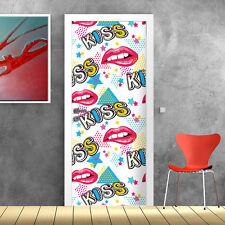 PT0216 Wall Stickers Adesivi Murali Adesivo decoro Porta pop kiss 100x210 cm