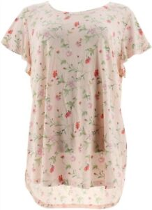 Isaac Mizrahi TRUE DENIM Ditsy Floral Knit Top Dusty Pink 3X NEW A306436