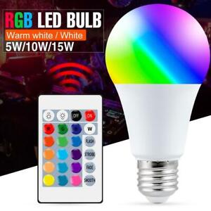 E27 Smart Control Lamp Led RGB Light Dimmable 15w RGBW Colorful Bulb Home Decor