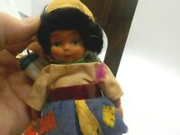 French Peasant French Doll Plastic w/ 3 Handkerchiefs on her back - Coton 6""