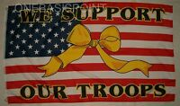 3'x5' We Support Our Troops Vet Patriotic Flag USA Yellow Ribbon Old Glory 3x5