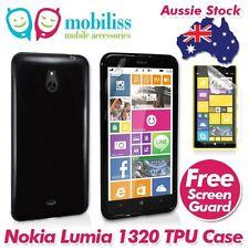 Black TPU Gel Jelly Case Cover for Nokia Lumia 1320 + Screen Protecto