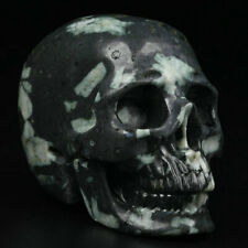 "2.0"" ChrysanthemumStoneCarved Crystal Skull, Realistic, Crystal Healing"