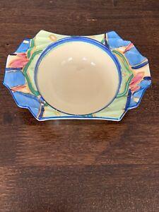 Clarice Cliff Art Deco Grapefruit Bowl In Blue Chintz Pattern No.1