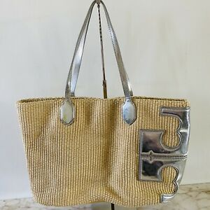 TORY BURCH Solid Yellow Straw Tote Bag Metallic Silver Leather Finish Large Logo